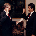 Cedillos being sworn-in by          Governor Wilson as Trustee of the           largest university system in the U.S.
